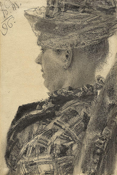 Young Lady Wearing a Hat by Adolph Menzel (1815-1905, Poland)