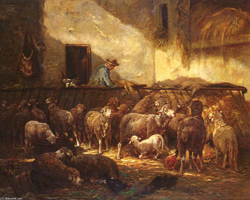 A Flock Of Sheep In A Barn, Drawing by Charles Émile Jacque (1813-1894, France)