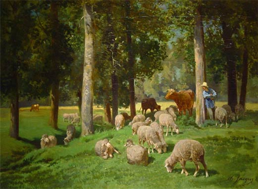 Landscape with Sheep, Drawing by Charles Émile Jacque (1813-1894, France)