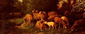 Charles Émile Jacque - Sheep In The Sous-Bois