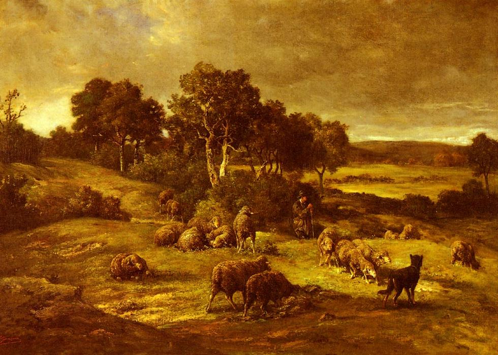 The Herd by Charles Émile Jacque (1813-1894, France) | ArtsDot.com
