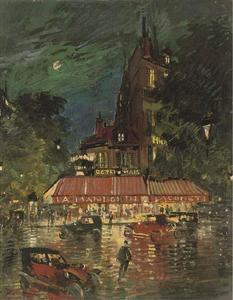 Konstantin Alekseyevich Korovin - Night time before the Café Mandolin, Paris