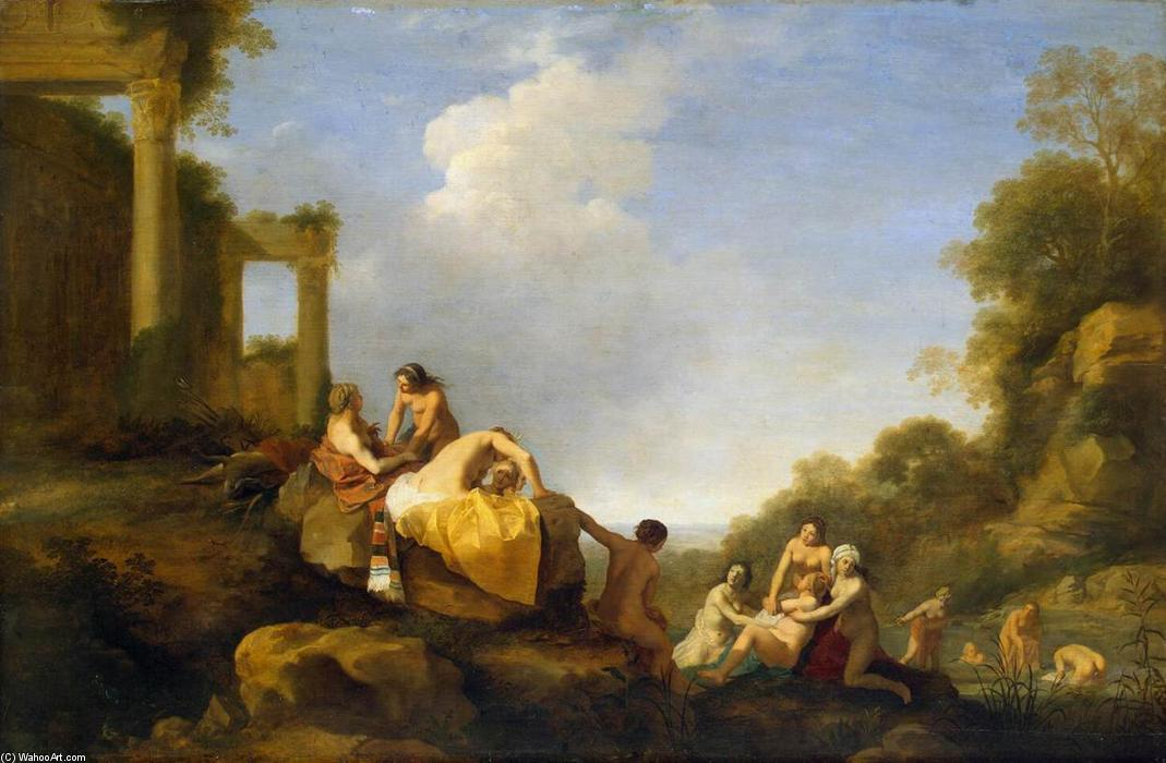 Landscape with Diana and Callisto, Oil On Panel by Cornelis Van Poelenburgh (1595-1667, Netherlands)