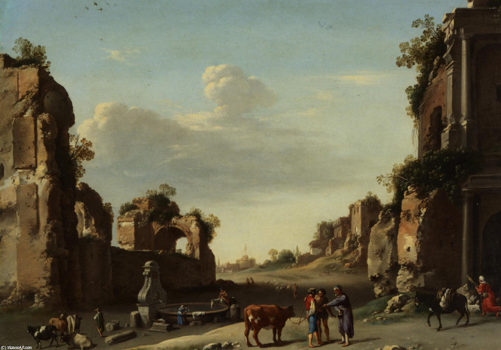 Roman Ruins with a Merchant Buying Bull, Drawing by Cornelis Van Poelenburgh (1595-1667, Netherlands)