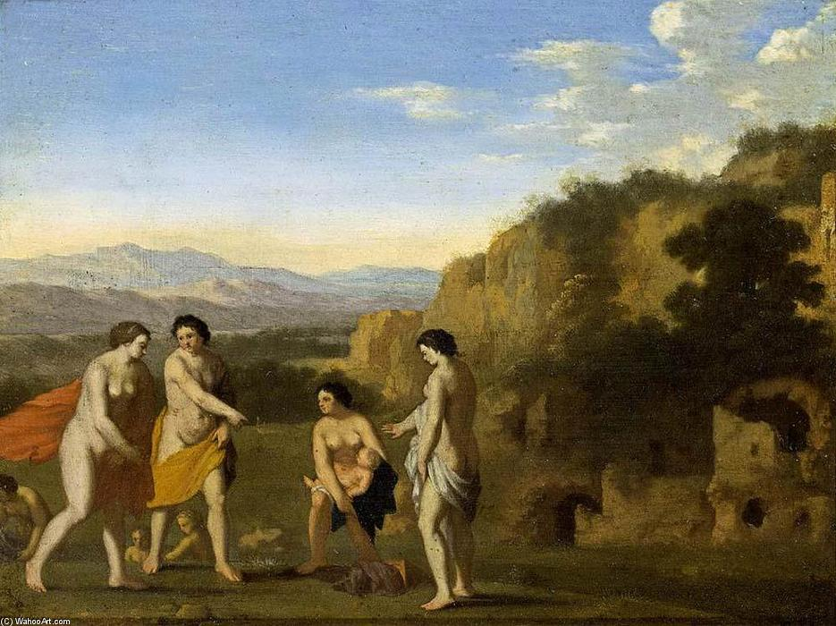 The Finding of Moses, Oil On Panel by Cornelis Van Poelenburgh (1595-1667, Netherlands)