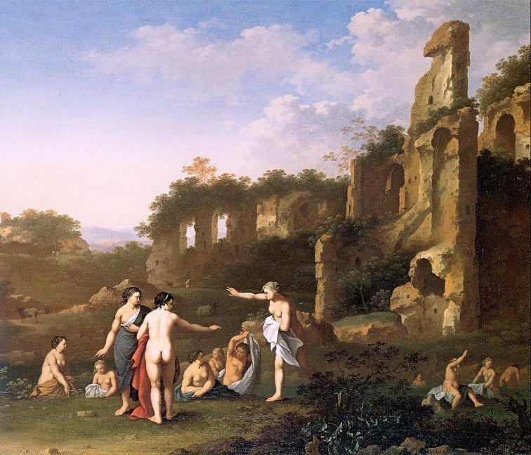 Women Bathing in a Landscape, Drawing by Cornelis Van Poelenburgh (1595-1667, Netherlands)