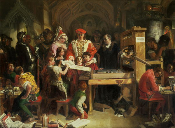 Caxton Showing the First Specimen of His Printing to King Edward IV at the Almonry, Westminster, Drawing by Daniel Maclise (1806-1870, Ireland)