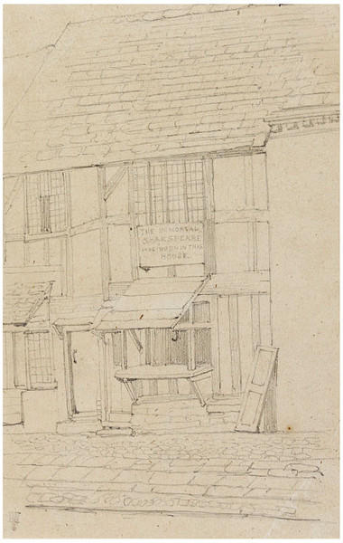 Shakespeare's birthplace, Stratford-on-Avon, Warwickshire, Drawing by Daniel Maclise (1806-1870, Ireland)