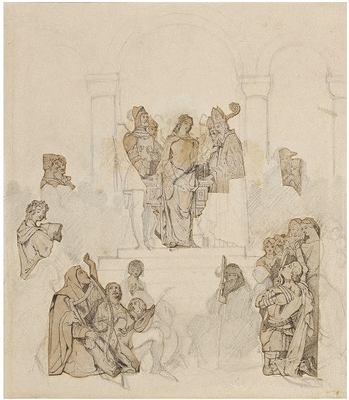 Sketch for chivalry, Drawing by Daniel Maclise (1806-1870, Ireland)