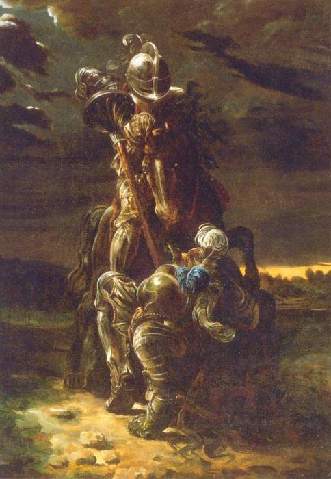 The Combat of Two Knights by Daniel Maclise (1806-1870, Ireland) | ArtsDot.com