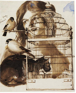 Daniel Maclise - Woman and Bird Cage