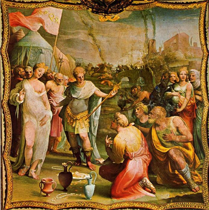 Continence of Scipio, Drawing by Domenico Di Pace Beccafumi (1486-1551, Italy)