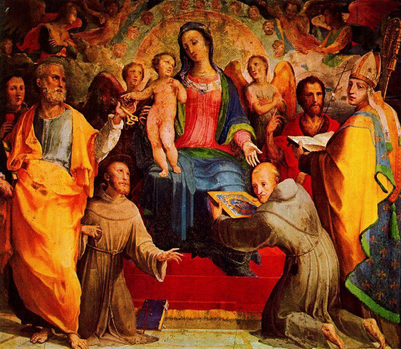 Madonna and Child Enthroned with Six Saints and Angels, Drawing by Domenico Di Pace Beccafumi (1486-1551, Italy)