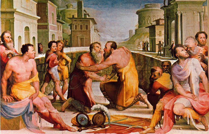 Reconciliation of Lepidus and Flacco, Drawing by Domenico Di Pace Beccafumi (1486-1551, Italy)