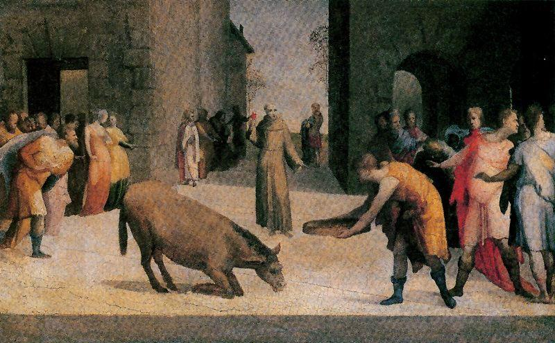 San Antonio and the miracle of the mule, Drawing by Domenico Di Pace Beccafumi (1486-1551, Italy)