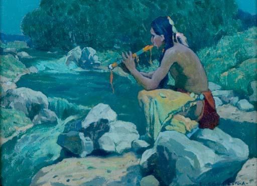 Flute Player, Rio Lucero, Taos, NM, Drawing by Eanger Irving Couse (1866-1936, United States)