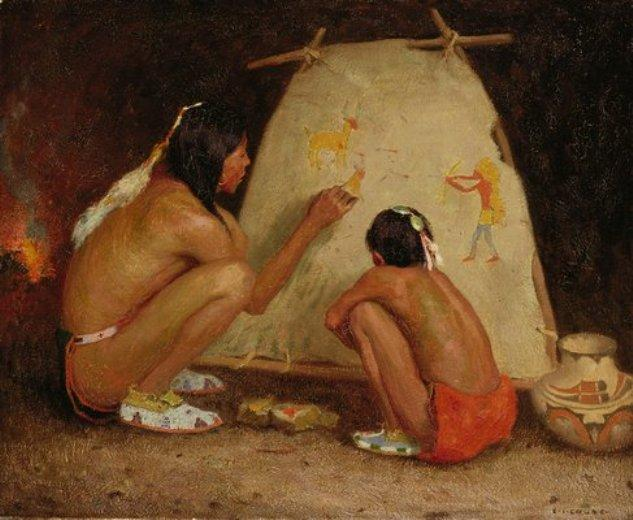 Indian Painter by Eanger Irving Couse (1866-1936, United States) | ArtsDot.com