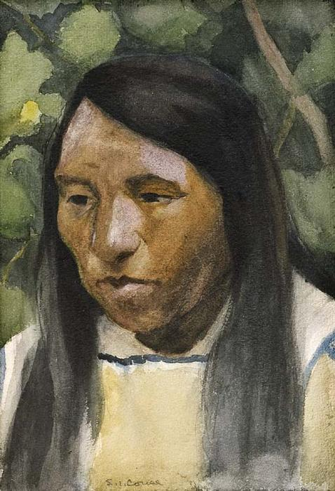 Indian Portrait, Drawing by Eanger Irving Couse (1866-1936, United States)