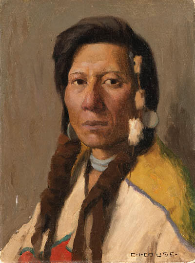 Klickitat Brave, Drawing by Eanger Irving Couse (1866-1936, United States)