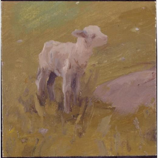 Lamb, Drawing by Eanger Irving Couse (1866-1936, United States)