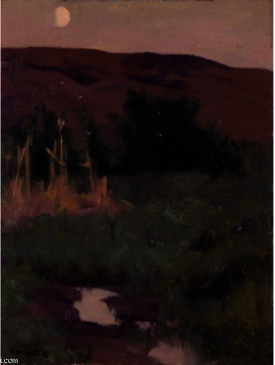 Landscape With Moon by Eanger Irving Couse (1866-1936, United States) | Painting Copy | ArtsDot.com