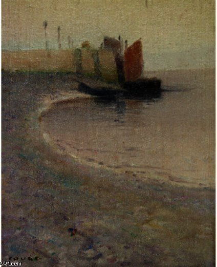 Purple Shore, Drawing by Eanger Irving Couse (1866-1936, United States)