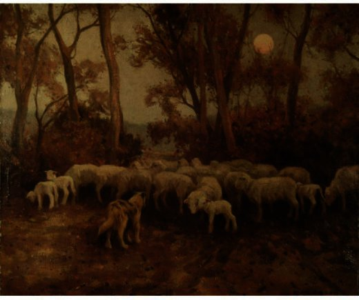 Sheep At Sundown, Drawing by Eanger Irving Couse (1866-1936, United States)