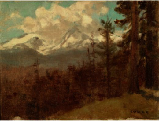 Snow Capped Mountain With Trees, Drawing by Eanger Irving Couse (1866-1936, United States)