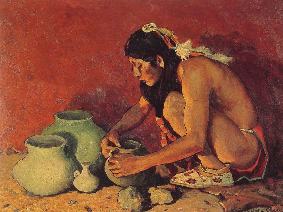 The Pottery Maker, Drawing by Eanger Irving Couse (1866-1936, United States)