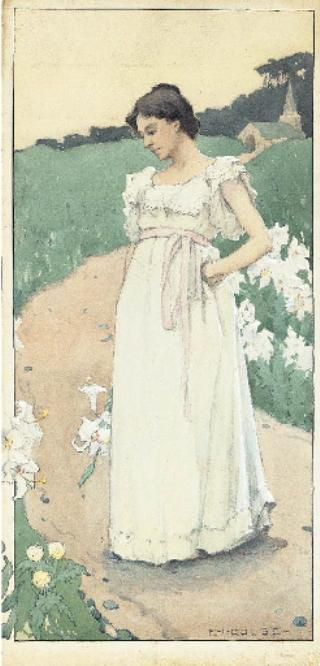 Woman in a White Dress by Eanger Irving Couse (1866-1936, United States) | Painting Copy | ArtsDot.com