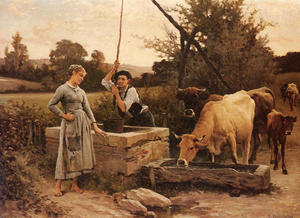 Edouard Debat-Ponsan - At the Well