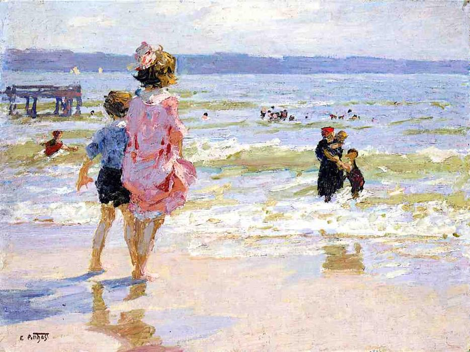 At the Seashore 1 by Edward Henry Potthast (1857-1927, United States) | Reproductions Edward Henry Potthast | ArtsDot.com