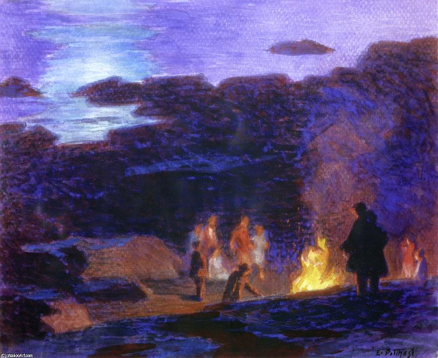 Campfire by Edward Henry Potthast (1857-1927, United States) | Art Reproductions Edward Henry Potthast | ArtsDot.com