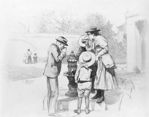 Figures at a Fountain by Edward Henry Potthast (1857-1927, United States) | Reproductions Edward Henry Potthast | ArtsDot.com