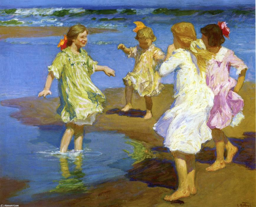 Girls at the Beach by Edward Henry Potthast (1857-1927, United States) | Paintings Reproductions Edward Henry Potthast | ArtsDot.com