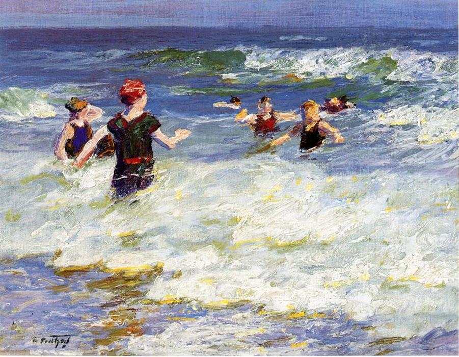 In the Surf 2 by Edward Henry Potthast (1857-1927, United States) | Museum Art Reproductions Edward Henry Potthast | ArtsDot.com