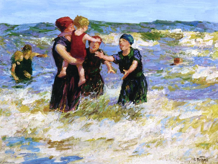 Making Friends by Edward Henry Potthast (1857-1927, United States) | Paintings Reproductions Edward Henry Potthast | ArtsDot.com