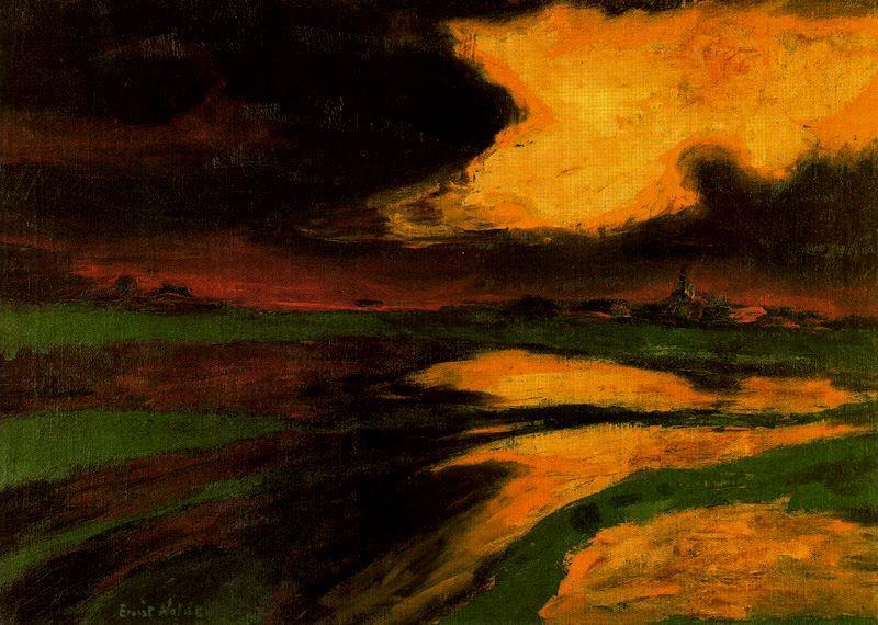 Autumn Sunset by Emile Nolde (1867-1956, Germany) | Oil Painting | ArtsDot.com