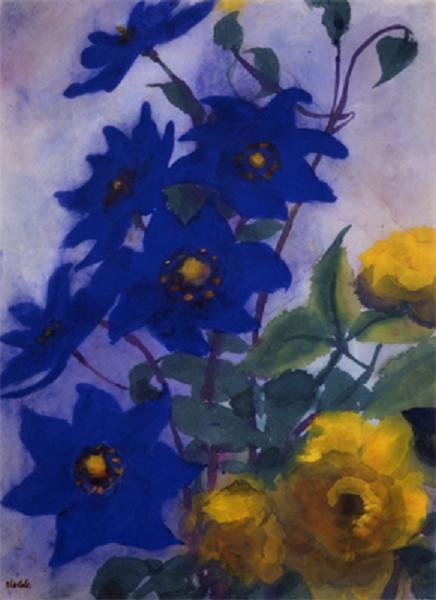 Blue Aquilegia and yellow roses by Emile Nolde (1867-1956, Germany)