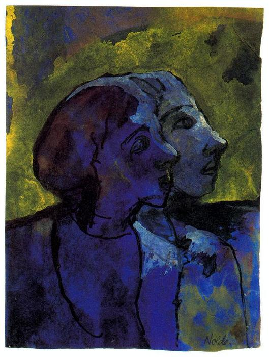 Blue Couple (in Profile) in Sidelight by Emile Nolde (1867-1956, Germany)