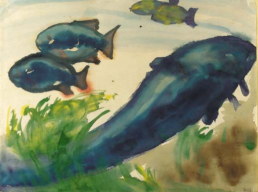Blue Fish by Emile Nolde (1867-1956, Germany)