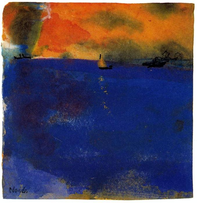Blue Sea (Sailboat and Two Steamships) by Emile Nolde (1867-1956, Germany) | Museum Quality Reproductions | ArtsDot.com