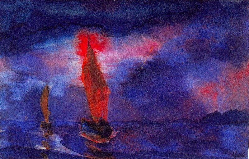 Blue Sea (Two Brown Sails) by Emile Nolde (1867-1956, Germany)