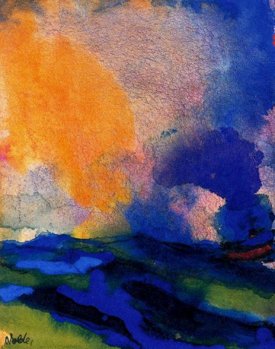 Blue-green Sea with Steamer by Emile Nolde (1867-1956, Germany) | Museum Quality Reproductions | ArtsDot.com