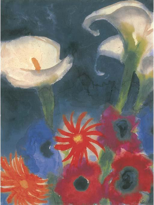 Calla, Anemones and Gerbera by Emile Nolde (1867-1956, Germany)