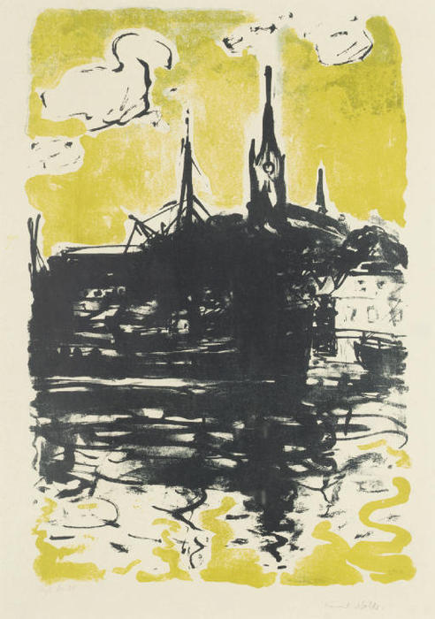 Church and ship, Sonderburg by Emile Nolde (1867-1956, Germany)