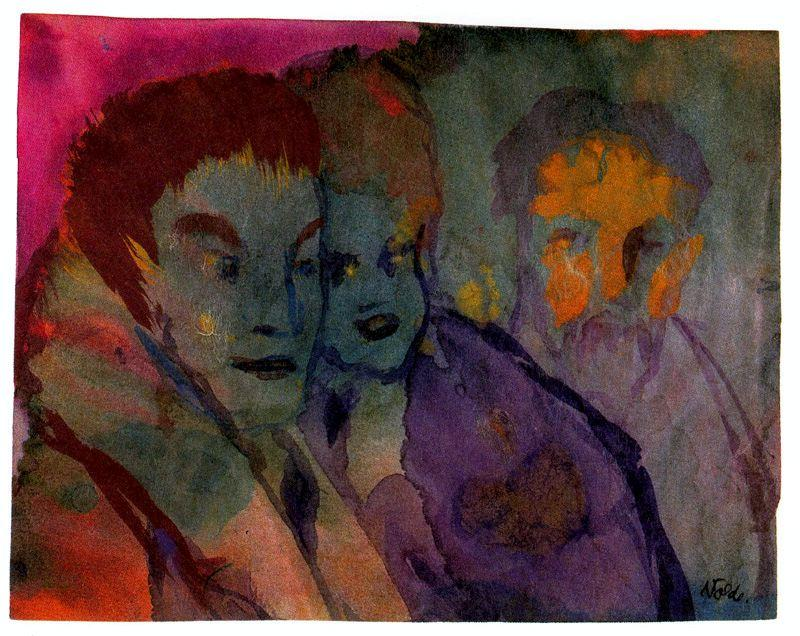 Couple and Beraded Older Man by Emile Nolde (1867-1956, Germany) | ArtsDot.com