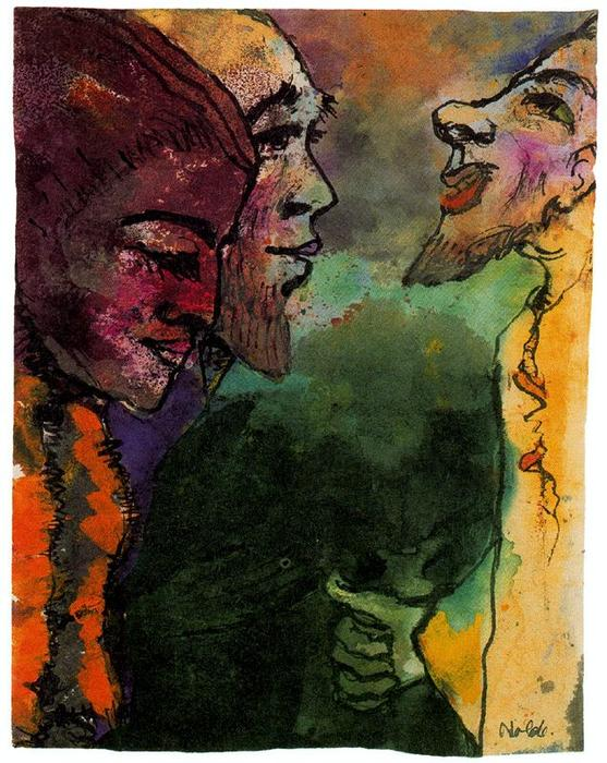 Couple and Goateed Man (in Profile) by Emile Nolde (1867-1956, Germany)