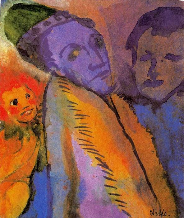 Couple and Redheaded Child by Emile Nolde (1867-1956, Germany) | ArtsDot.com
