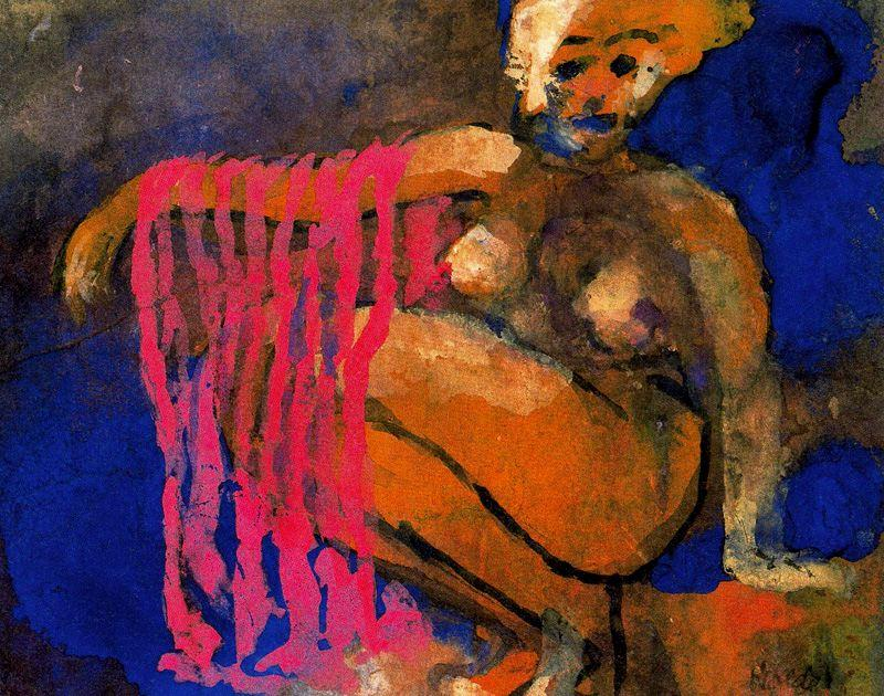 Crouching Nude by Emile Nolde (1867-1956, Germany) | Art Reproduction | ArtsDot.com